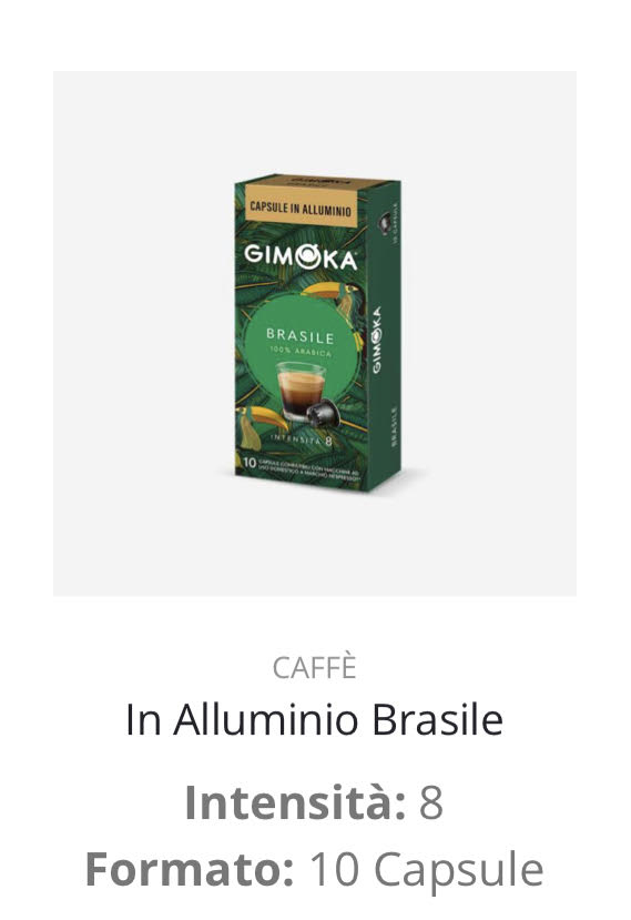 Capsule caffè Brasile Nespresso compatibili
